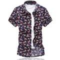 2016 Male Short-Sleeve Flower Shirt Plus Size 5XL 6XL Casual Mercerized Cotton Shirt Men Summer New Fashion Mens Floral Shirts