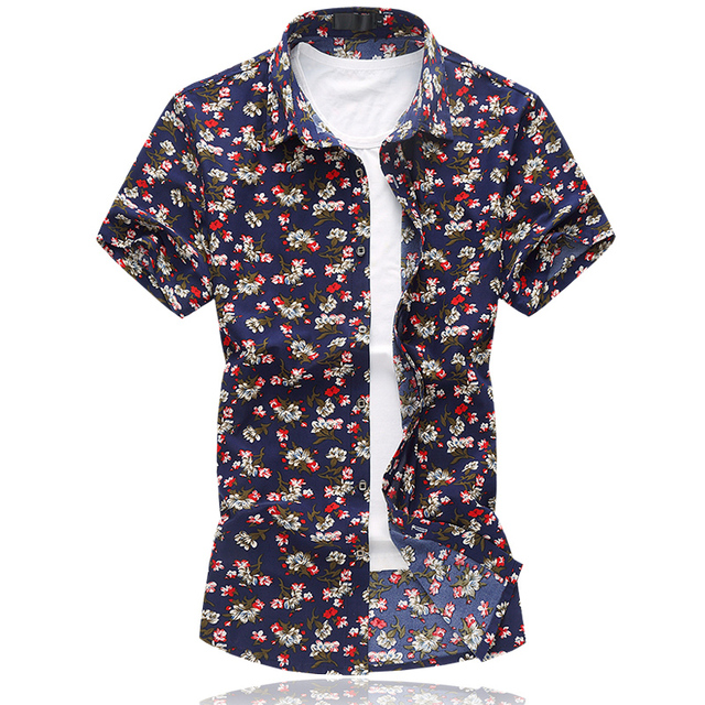 2016 Male Short-Sleeve Flower Shirt Plus Size 5XL 6XL Casual Mercerized Cotton Shirt Men Summer New Fashion Mens Floral Shirts