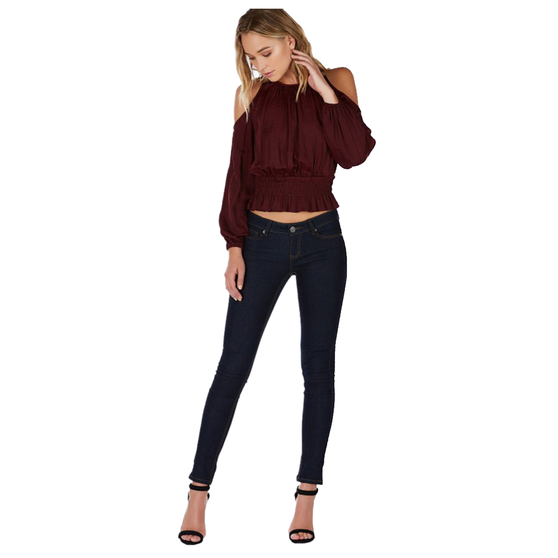 Hot Womens New Fashion O Neck Shirts Summer Style Ladies Sexy Off Shoulder Blouse Casual Slim Long Sleeve Tops Blouses(Win