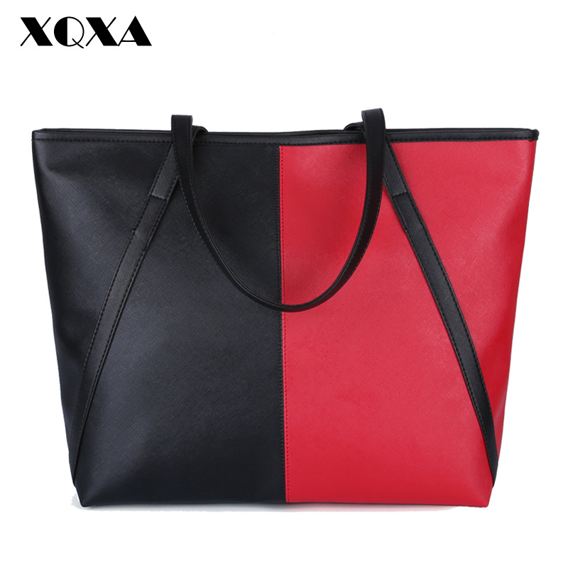 55d620a83222 XQXA Famous Designer Brand Fashion Women Bag PU Leather Patch Work Large  Women Messenger Bags sac