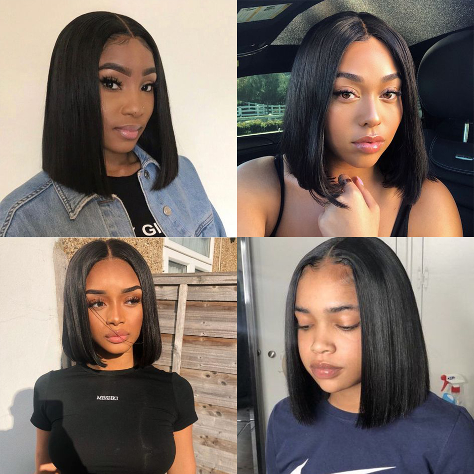 Remy Forte Human Hair Wigs Lace Front Human Hair Wigs Straight Short Bob Wig 360 Lace