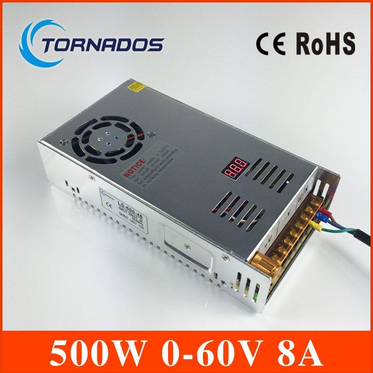 Импульсный источник питания 0-60 В 500 Вт AC к DC 60 В SMPS для Электроника Светодиодные полосы Дисплей ls-500-60