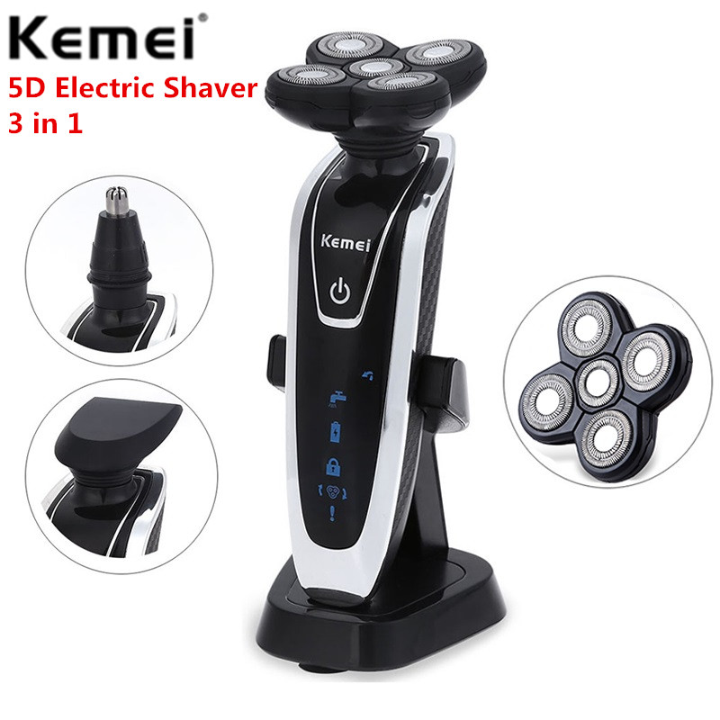 Kemei KM-5886 Electric Shaver Rechargeable Washable Electric Razor Shaving Machine For Men Face Care 5D Floating Nose Trimmer