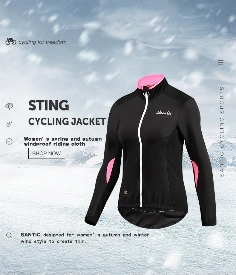 Santic Spring Autumn Women Fleece Cycling Jerseys Autumn Winter ... 5d6e3ed38
