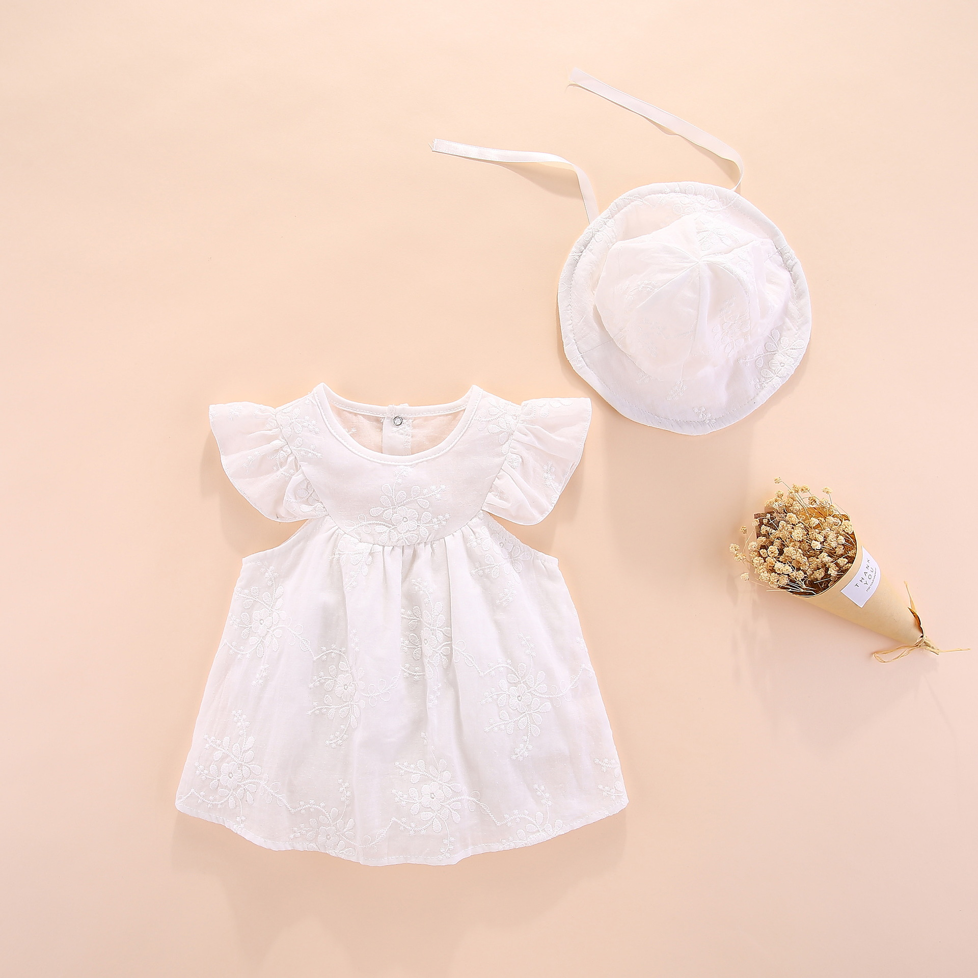 975822279600 2019 summer New Baby Girl s Cute Flower Dress Pure cotton Fly sleeves  Embroidery Dress+hat Newborn Baby Girls Clothes outfit set
