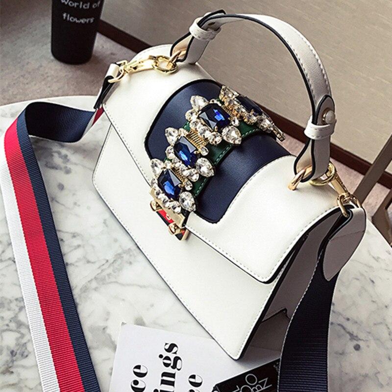 Luxury Brand 2018 Jewellery Gem Women Leather Handbag Colorful Strap Shoulder Bags Famous Designer Handbag Big Totes 50X