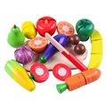 Preschool Children Conjunto De Corte de Frutas e Vegetais De Alimentos De Madeira Colorida Pretend Play Kitchen Set Brinquedos Para Crianças