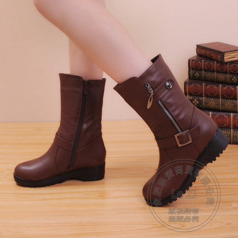ФОТО Solid Cuban Heel Pu Round Toe Martins Buckle Mid-calf Flat Plush Winter Snow Boots Women High Street Side Zip New Arrival 2015