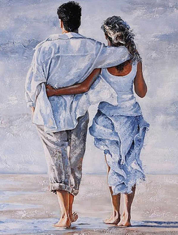 Diamond Embroidery people 5D DIY Diamond Painting Cross Stitch Sets Rhinestones Cross Stitch Couple Walking By The Sea Gifts