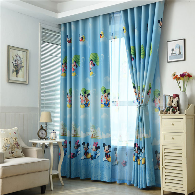 US $12.8 36% OFF|Living room children\'s Mickey print blackout curtains  children\'s bedroom window modern children\'s blackout curtains curtain-in ...