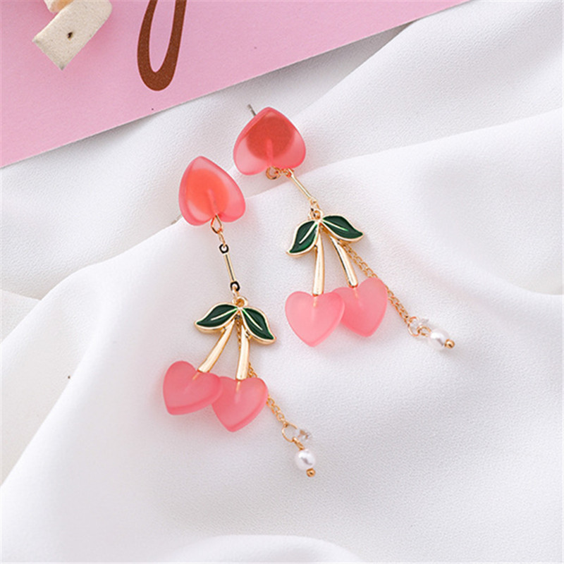 Tassel Earrings Cherry Woman For Han-Edition Fresh Acrylic Contracted Pink Sweet Pure