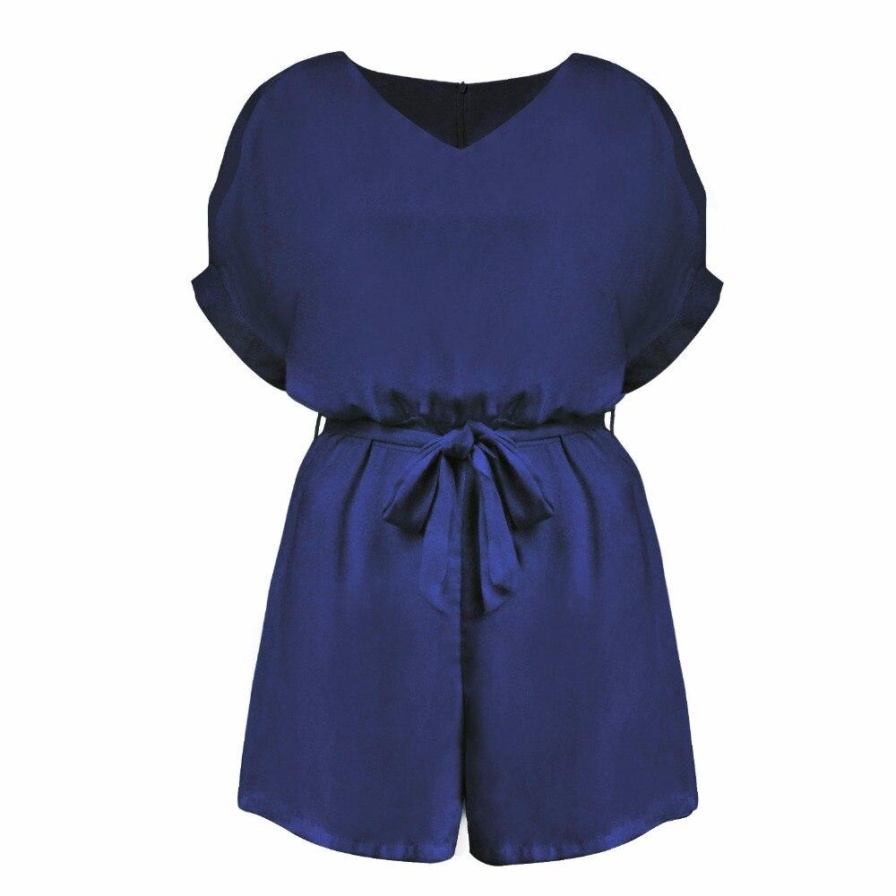Sexy Summer Short Jumpsuits Playsuits Bodysuits Women zipper belt cuff Special sleeve no elastic Girls Loose Chiffon Plus Size