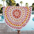 Pareo Beach Towel Round 3D Print Vintage Tassel Adult Serviette Ronde Toalla Playa Pashmina Large Size Shawls and Scarves 160cm