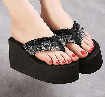 bb6a15ef6 Womens Flip Flop Thong Sandals Wedge Heel Platform Fancy Glitter Sweet New  Shoes