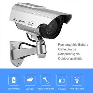 Dummy Camera Solar Battery Powered Flicker Blink LED Fake Indoor Outdoor Surveillance Security Camera Bullet CCTV Camera(China)