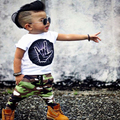 new fashion Handsome  suit   white  short  sleeve shirt + camouflage trousers two-piece Suitable for   0-2 years old baby
