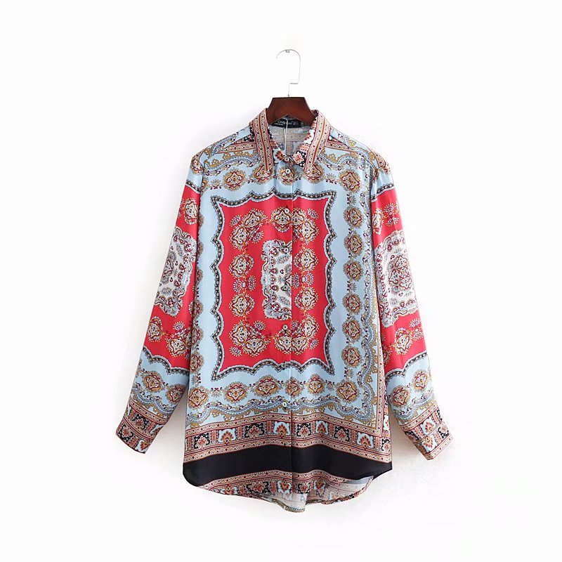 New Women Vintage Position Totem Floral Print Casual Smock Blouses Shirt Women Long Sleeve Roupas Femininas Chemise Shirt LS3223