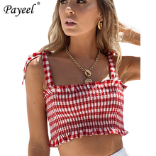 Summer Women Sexy Crop Top Sleeveless Tank Top Frill Smocked Shirt Female Underwear Halter Club Tops Shoulder Strap Beach Vest open shoulder frill trim crinkle top