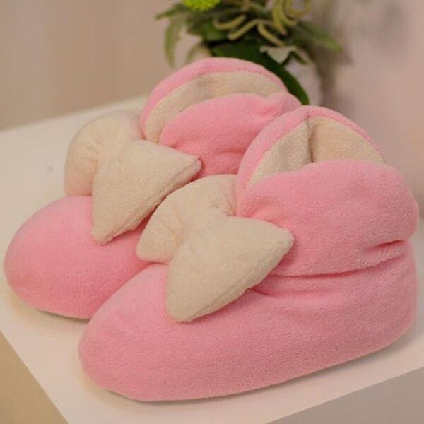 Bedroom Slippers Cute House Slippers Cute Women Warm Bowknot Plush ...