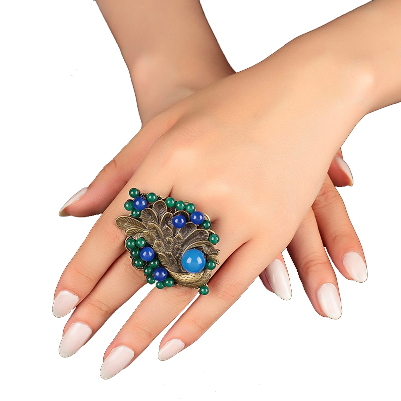 New Vintage Wedding Gift large ring for women blue female big peacock decoration Stone Charms jewelry Statement rings female недорого