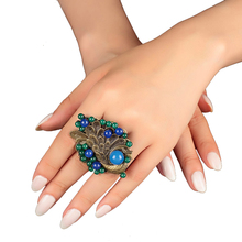 New Vintage Wedding Gift large ring for women blue female big peacock decoration Stone Charms jewelry Statement rings female