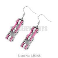 Free Shipping! Pink Bicycle Chain Motor Earrings Stainless Steel Jewelry Bling Rhinestone Motorcycle Biker Earring SJE370127L