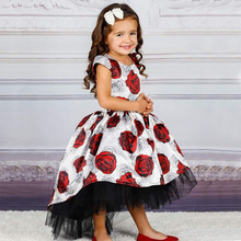 Fashion New Princess Dress Girls Print Floor-Length Dress Mopping Dres
