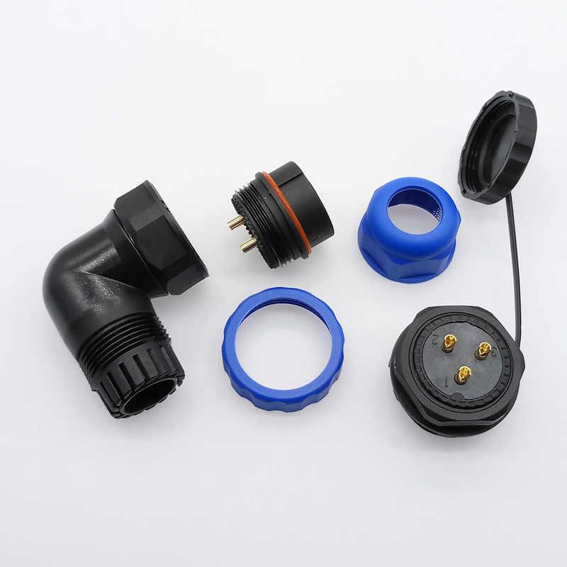 Conector de cable SP28, resistente al agua IP68, de 2 pines, 3/4/5/6/7/9/10/12/14/16/19/22/24/26 Pines, conectores de ángulo de 90 grados