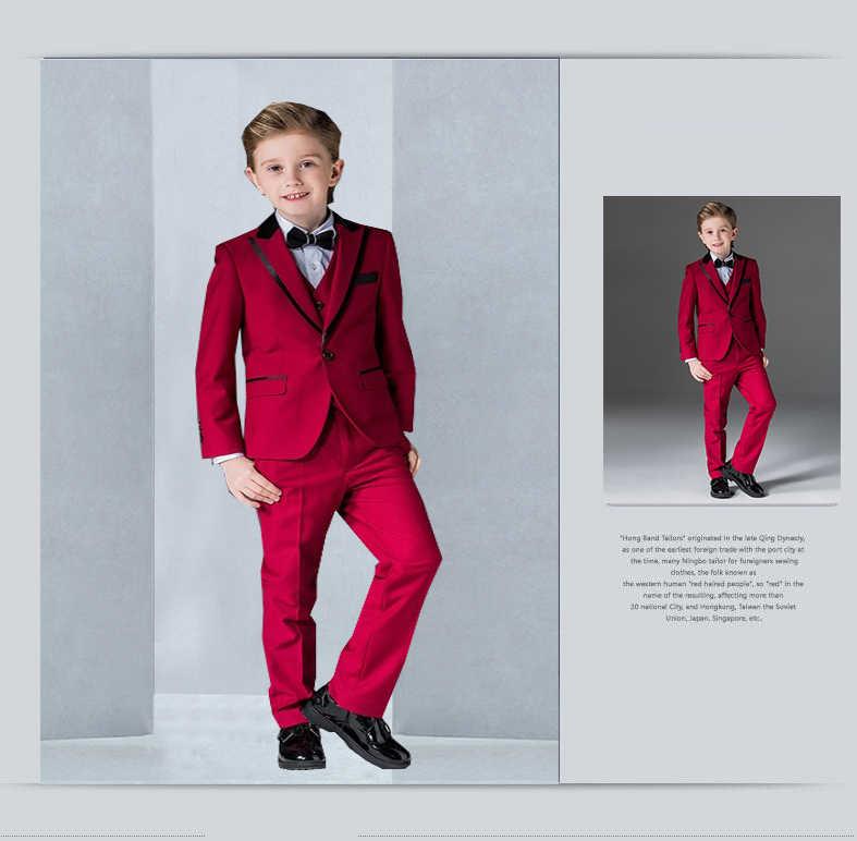 Neueste Jungen Smoking spitze Revers Kinder Klage Royal Blau/Rot/Schwarz Kid Hochzeit/Prom Anzüge Some (jacke + Weste + Hosen) 2018