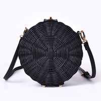 New Women Straw Bag Bohemian Bali Round Straw Rattan Bag Wicker Circle Beach Handbag Handmade Kintted Shoulder Bags bolso bambu