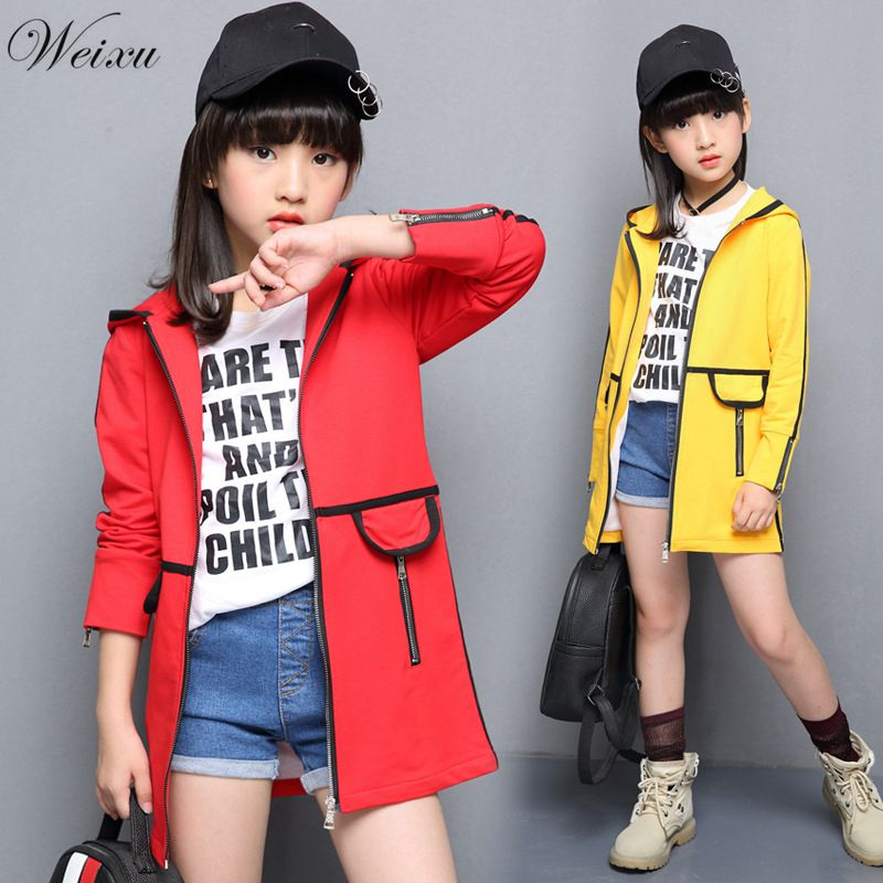 Windbreaker For Kids Girls Autumn Korean Hooded Long Trench Coat Children's Jacket Teenage Clothes For Girls 6 8 10 12 Years Old