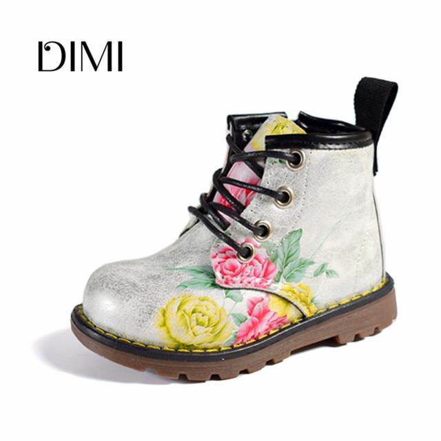 ילדי מגפי בנות 2018 אביב ילדי נעלי עור פרח תינוק גומי מגפיים עמיד למים אופנה מרטין בנות מגפי 21- 30