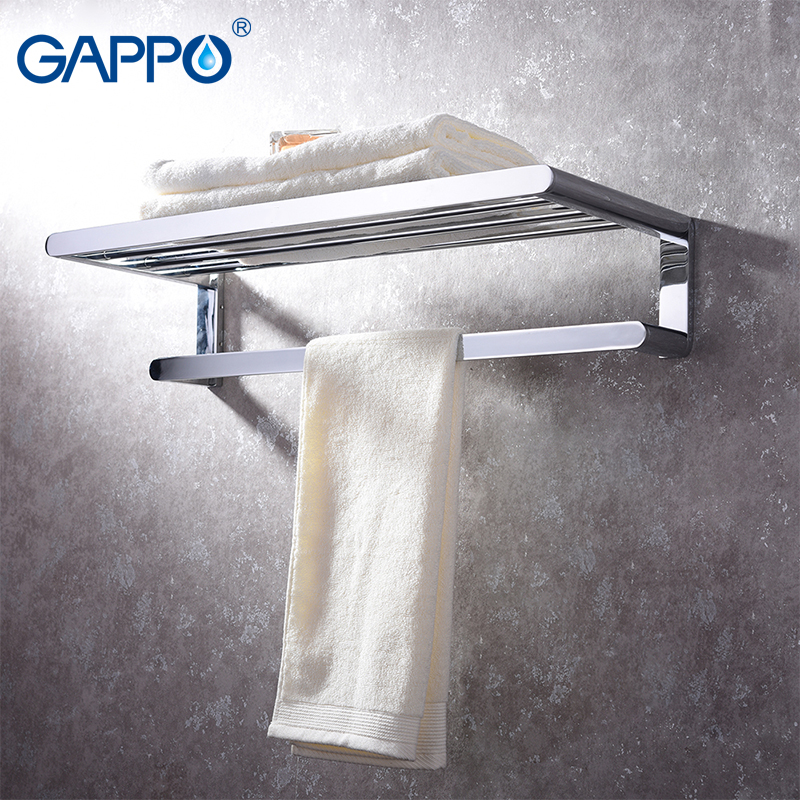 GAPPO Towel Bars holder bath hardware accessories brass towel rack wall mounted bathroom towel holder hanger nail free foldable antique brass bath towel rack active bathroom towel holder double towel shelf with hooks bathroom accessories