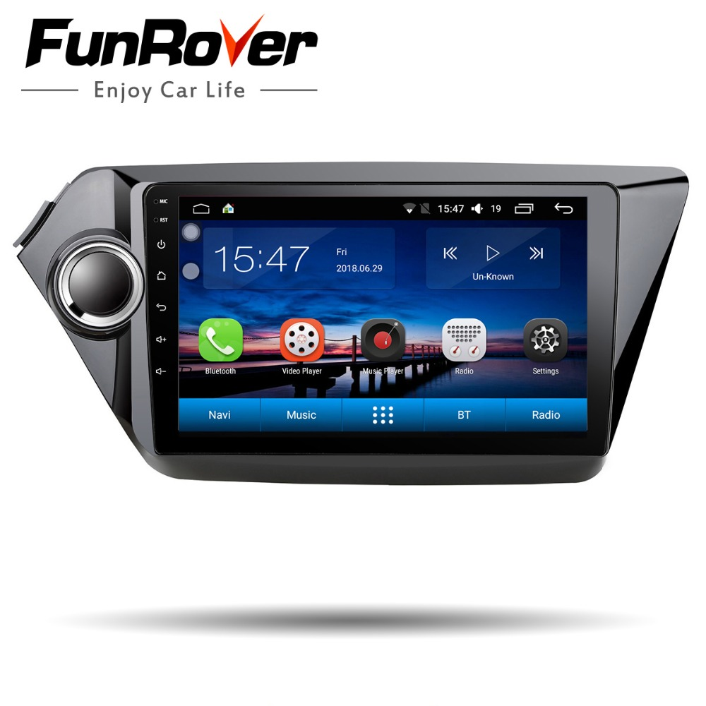 Funrover android8.0 lecteur dvd de voiture radio pour kia k2 Rio 2010 2011 2012 2013 2014 2015 2016 2017 gps navigation multimédia stéréo
