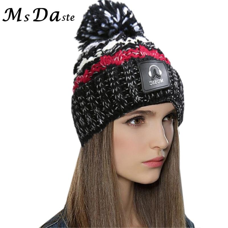 Warm Knit Ski Cap Winter Cold Warmer Thicken Lining Spring Hat for Women Female Knitted Velvet Outdoor   Skullies     Beanies   Bonnet