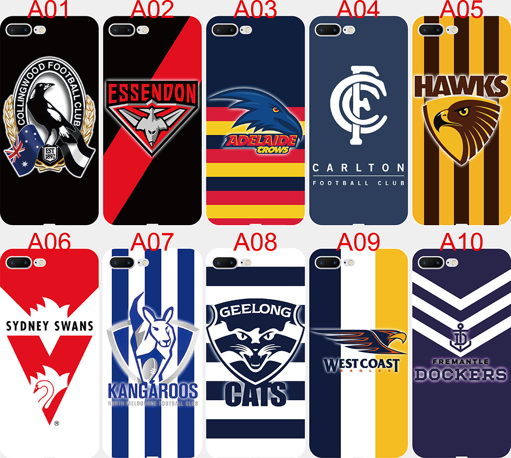 For iPhone 11 Pro XS Max X XR 7 8 Plus 6 6S 5 5S SE case Print AFL teams Logo Soft TPU Silicone CellPhone Case(China)
