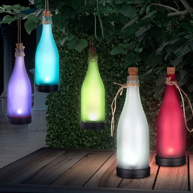 Beautiful 1PC Cork Wine Bottle LED Solar Powered Sense Light Outdoor Hanging Garden  Lamp Color For Party Courtyard Patio Path Decoration