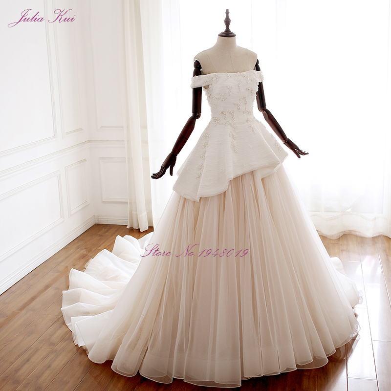 Julia Kui Vintage Tiered A Line Wedding Dress With Elegant Tulles Floor Length Of Lace Up vestido de noiva in Wedding Dresses from Weddings Events