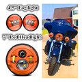 Orange Harley Daymaker 7inch LED Headlight with 4.5inch Matching orange Passing Lamps for Harley Davidson Motorcycles