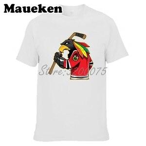 Image 3 - Camiseta de manga corta de algodón con cuello redondo para hombres de Chicago Blackhawks Fans 100% W19031511