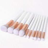 MSQ 10pcs Professional Cosmetics Brush Set Beauty Makeup Brush White Handle Powder Blush Brush