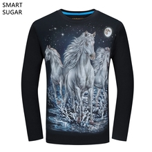 SMARTSUGAR 2017 New Men's 3D Print T-shirts Animal 3 White Horse Plus Size 6XL Breathable Long Sleeve Autumn 3D Men's T-shirts
