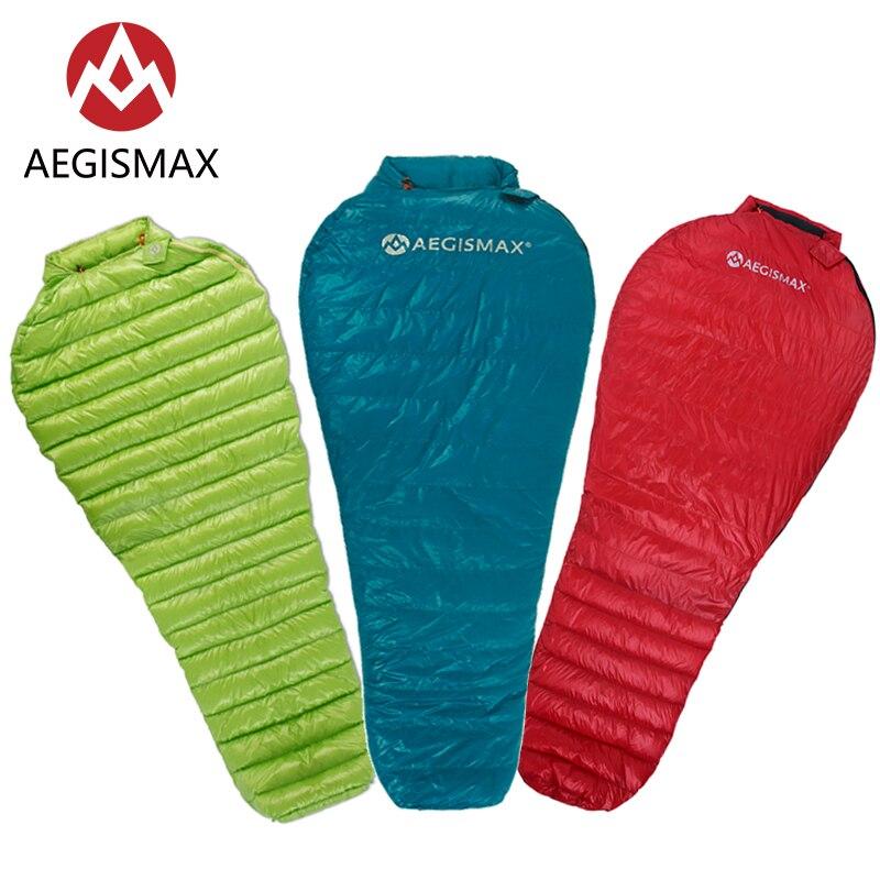 AEGISMAX Ultra-léger adulte Camping en plein air sac de couchage en Nylon momie trois saisons sac de couchage en duvet d'oie