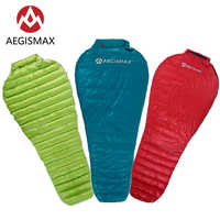 Saco de dormir AEGISMAX ultraligero para acampar al aire libre, bolsa de dormir de Nylon momia, saco de dormir de plumas de ganso de tres estaciones