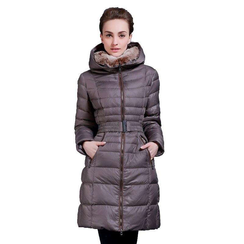 Winter   down   jacket for women long design rex rabbit fur collar white duck   down     coats   Minus 40 degrees warm hooded   coat   Q544