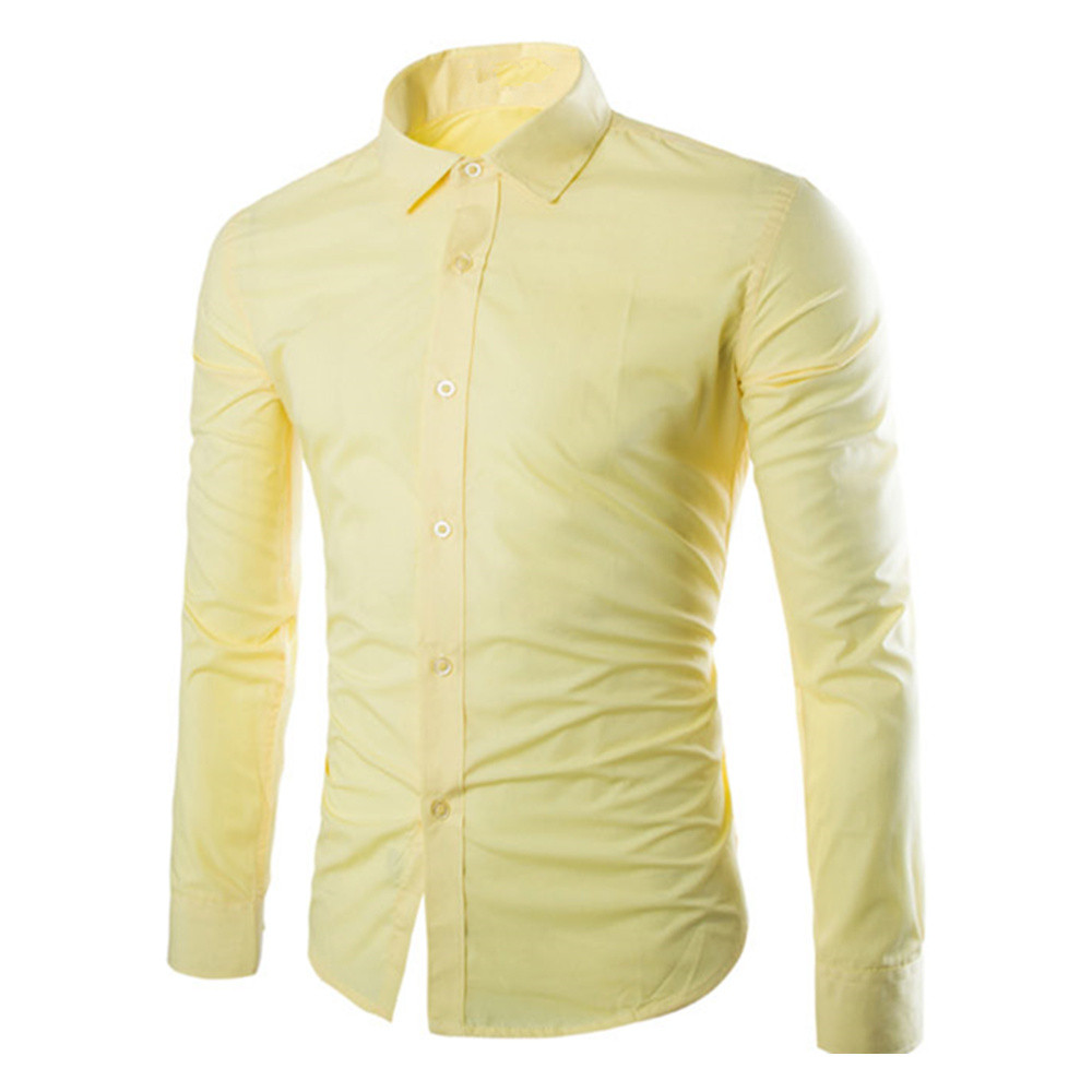 Spring Wear Blouse Male Casual Warm Tops Business Man Office Clothing Boys Blusa Yellow Shirt Young Korean Style Men Slim Shirts