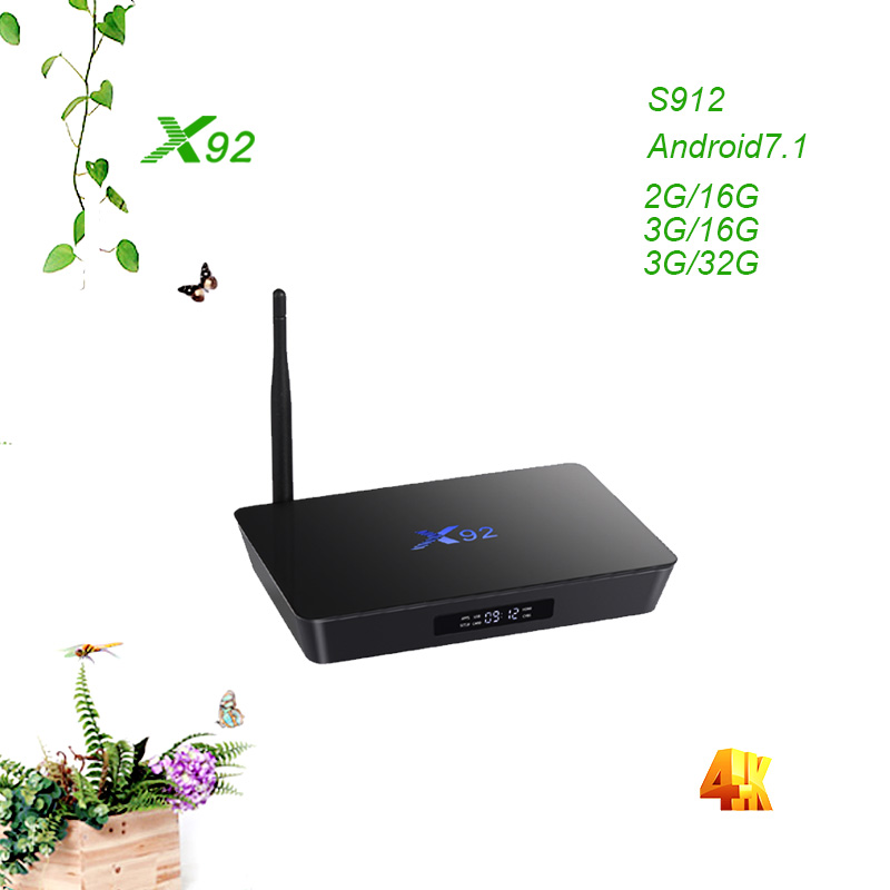 X92 2 gb + 16 gb/3 gb + 32 gb Android 7.1 Smart TV Box Amlogic S912 Octa core 4 k H.265 Set Top Box