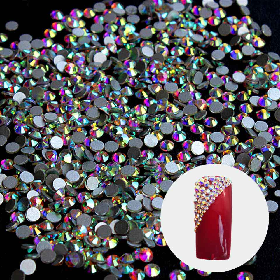Crystal 1440 Rhinestones for Nails Design Nails Decorations New Arrive SS3 Rhinestones AB Nail Design Strass Nail Art ZJ1086 ss3 ss30 jet black ab nail art rhinestones with round flatback for nails art cell phone and wedding decorations