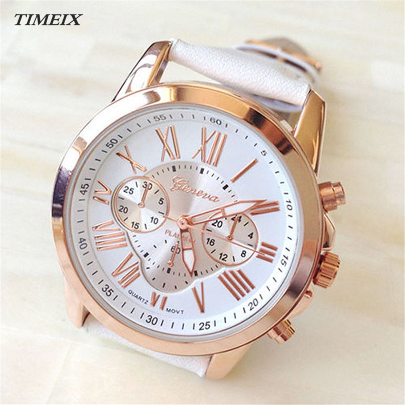 2017 New Women's Fashion Geneva Roman Numerals Faux Leather Analog Quartz Wrist Watch Hot Sale Free Shipping,Dec 4*40 smileomg hot sale new mens watch new men fashion leather analog stainless steel quartz wrist watch free shiping sep 28