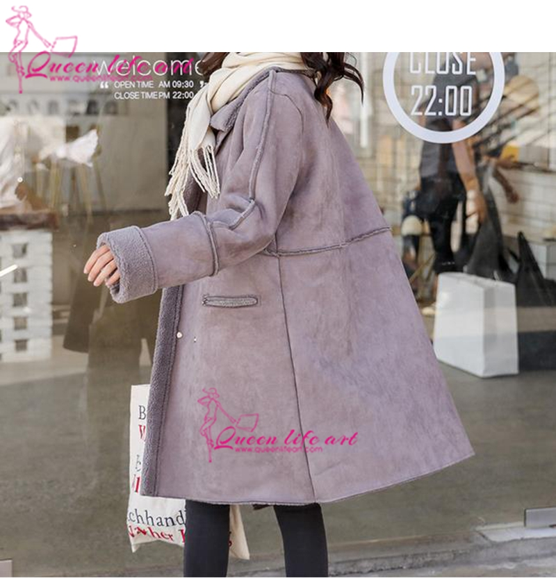 Fourrure Faux Agneaux Veste rose Confortable Hiver Laine Pourpre Taille Plus Cardigan Manteau Daim La